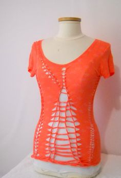 Women's Small Charlotte Russe Upcycle, Ripped Shirt, Altered, Reconstructed, Cut Out, Cut Up T Shirt. $32.00, via Etsy.