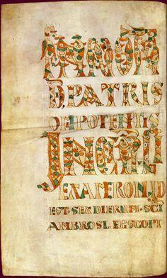 Saint-Ambroise, Hexaemeron. Corbie, fin du 8°s, BnF, Manuscrits, Latin 12135 fol 1v.- ENLUMINURES MEROVINGIENNES. 3) CENTRES DE PRODUCTION DES MANUSCRITS CELEBRES, 9: CORBIE: Principaux manuscrits: Commentaire d'Ezéchiel par st Grégoire (2° quart du 7°s. B.de St Petersbourg Q.V.I.14).- Règle de Ste-Basile, v. 700.Conservé à la B. N. russe de St Petersbourg.- HEXAEMERON dit de ST AMBOISE, 2° moitié du 8°s (BNF). - Un manuscrit de l'Exposition mystique sur le Cantique des cantiques de Just…