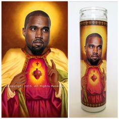 """'Saint' Kanye West depicted on a custom made 9"""" Prayer candle.  The perfect gift for Yeezy fans.  All of our candles are handmade in Wichita, KS"""