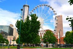 SkyView! INTRODUCING A BETTER WAY TO FLY OVER ATLANTA - If you are heading to downtown Atlanta your jaw will drop when you spot the new massive ferris wheel. Located at the South end of Centennial Park in downtown Atlanta, the SkyView Ferris wheel is set up to open for 12 p.m. on Tuesday, July 16, according to spokesman Jason Evans.