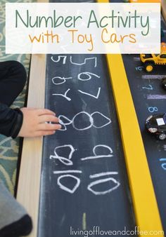 Introduce numbers to toddlers with toy cars. #earlylearning #homeschool http://livingoffloveandcoffee.com/toy-car-number-activity-for-toddlers/