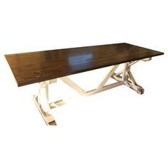 Image of Rustic Walnut Stain Farm Table