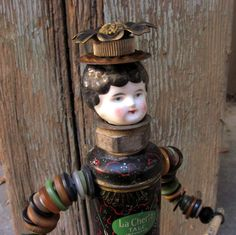 Vintage Tin Doll Assemblage Found Object by SalvageArtSweetheart