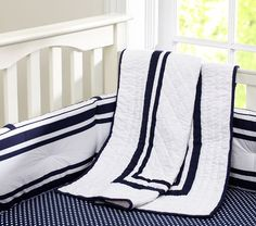 Harper Nursery Bedding - clean, simple classic  Would be adorable in a nautical-theme nursery as well!