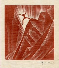 Figure Original illustration from Wild Pilgrimage by Lynd Ward Scenic Design, Pilgrimage, Printing, The Originals, Illustration, Red, Color, Etchings, Prints