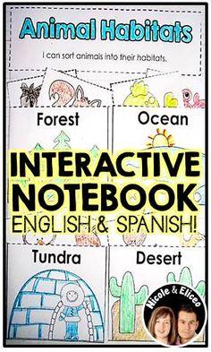 Interactive science notebook in English & Spanish (example animal habitat activity)