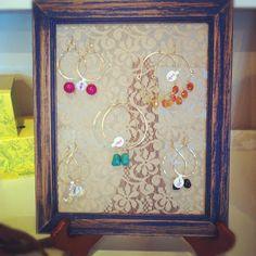 ROSERAGS: DIY: Recycled Frame Earring Rack