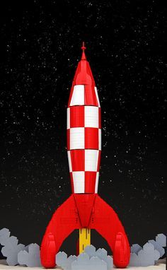 Tintin's LEGO rocket takes off from the moon!