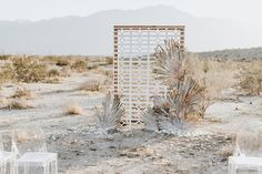 "Loving hard on this inspired backdrop I got to laser cut and ""install"" in Palm Desert! It was windy AF, and the backdrop… Ceremony Backdrop, Wedding Ceremony Decorations, Outdoor Ceremony, Romantic Wedding Decor, Wedding Hire, Dream Wedding, Backdrop Decorations, Backdrops, Desert Background"