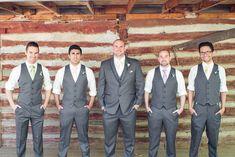 grooms men gray vests flower child rustic wedding pastel ties