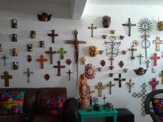 Mexican art angels crosses cross masks devils wall art tree of life  alter skulls day of the dead