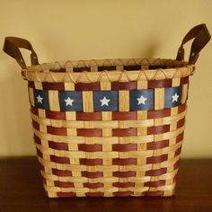 Patriot Waste Basket Sold by JoannasCollections on Etsy ---> Excellent Etsy Site for Beautiful, handmade Baskets!!!