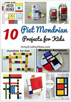 Mondrian - 10 projetos de arte para crianças Piet Mondrian's work show us the importance of focusing on what's truly important. So here're 10 Piet Mondrian's projects for kids to get inspired from! Mondrian Art Projects, School Art Projects, Projects For Kids, Project Projects, History Projects, Piet Mondrian, Mondrian Dress, Art Lessons For Kids, Art For Kids