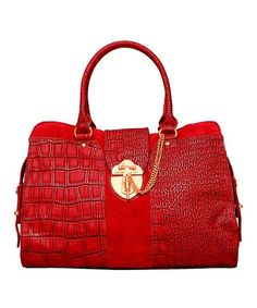 Love!    Bordeaux Croc Satchel by Elise Hope on #zulily today!