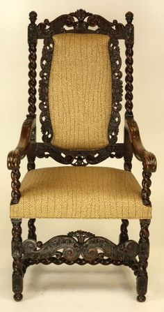 ~ Magnificent Rare Set of Fourteen (14) 17/18th c. Dutch Carved Walnut Dining Chairs ~ liveauctioneers.com