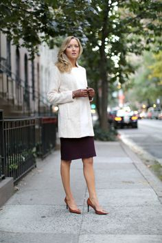 shirtdress with skirt and leather gloves