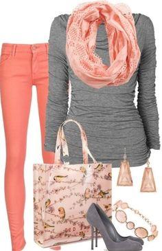 Coral & Grey ~ So Pretty!