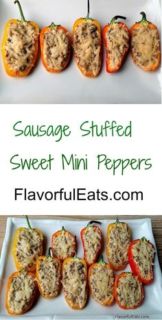 Sausage & Cream Cheese Stuffed Mini Peppers Sausage Stuffed Sweet Mini Peppers are the best appetizers or party food. Made with cream cheese, sausage, and garlic. Just stuff the mini peppers, top with parmesan cheese and bake until cheese is melted. Cream Cheese Stuffed Peppers, Stuffed Mini Peppers, Sausage And Peppers, Healthy Appetizers, Appetizer Recipes, Party Appetizers, Chicken Appetizers, Party Snacks, Sausage Appetizers