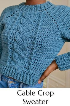 Crochet Cable, Crochet Poncho, Free Crochet, Diy Crochet Crop Top, Knitting Patterns Free, Crochet Patterns, Needle And Thread, Crochet Clothes, Pullover