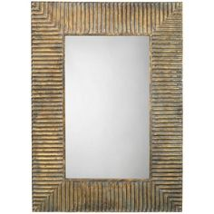 Rectangular Brass Geometric Mirror