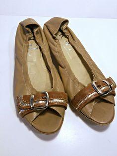 26fb7ea3b2b2 Womens Size 8 AGL Tan Buckle Flats Attilio Giusti Leombruni leather shoes 39