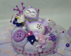 Lavender Fat Cat Pincushion Sewing  Pin Cushion Pin Keep