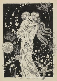 """Three days agone ~ I found a tiny fair-haired infant.illustration by Violet Moore Higgins. Vintage Illustration Art, Girl Illustrations, Art Nouveau Illustration, Illustration Art Drawing, Brain Illustration, Mermaid Illustration, Family Illustration, Beauty Illustration, Fantasy Illustration"