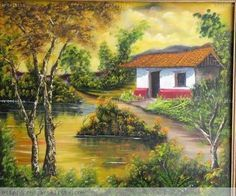 amanecer Costa Rica, South American Art, Nature Paintings, West Indies, Landscape Art, Folk Art, Golf Courses, Cottage, Drawings