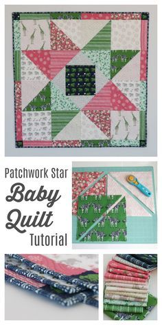 Patchwork Star Baby Quilt Tutorial by Amy Smart. Beginner-friendly