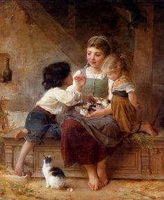 "Emile Munier - ""Children playing with kittens"" Beautiful!"