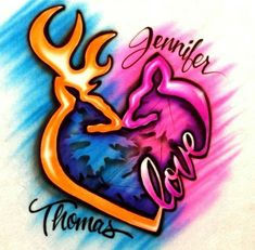 Details about Airbrush Browning, Buck, Doe, Love couple T-Shirt with names any… Buck Tattoo, Browning Tattoo, Browning Deer, Airbrush Designs, Airbrush Art, Valentine T Shirts, Valentines, Tattoo For My Son, France Tattoo