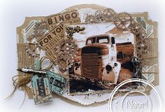 Jenine's Card Ideas: Vintage car Birthday Cards For Men, Man Birthday, Masculine Cards, Card Tags, Paper Cards, Tim Holtz, Mixed Media Art, Vintage Cars, Steampunk
