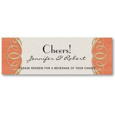 Peach and Sage Elegant Scroll Wedding Drink Ticket Business Cards