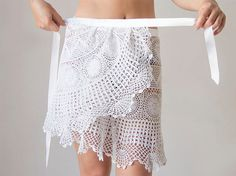 Crochet beach wrap white skirt Upcycled from by katrinshine, $30.00