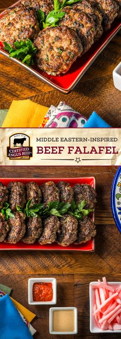 Certified Angus Beef®️️️️ brand Middle Eastern-Inspired Beef Falafel is a FLAVOR-PACKED meal! This delicious recipe uses the best ground beef and the perfect blend of spices for an easy recipe you'll want to make again. Served best in pita pockets with tahini, tomatoes, and cucumbers!  #bestangusbeef #certifiedangusbeef #beefrecipe #maindish