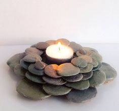 Pebble tealight holder pebble candle holder by DriftingDowntime