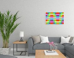 Metaphysical Decor & Design by ArtekFatuek on Etsy Modern Canvas Art, Abstract Canvas, Canvas Artwork, Rainbow Aesthetic, Rainbow Wall, Colorful Paintings, Room Wall Decor, Living Room Art, Large Wall Art