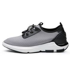 Grey Lace-ups Fashion Sneakers for Men built height 6cm / 2.36inch