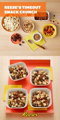 Take a timeout from deciding between Reese's Peanut Butter Cups and Reese's Pieces with this easy game day party mix recipe that combines both!