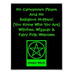 Witches Wizards and Fairy Folk Welcome Poster by Cheeky Witch #zazzle #witch #wicca #wiccan #pagan #pentacle #paganhumor #cheekywitch