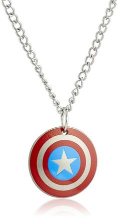 Marvel Comics Boys' Stainless Steel Captain America Shield Chain Pendant Necklace, 16""