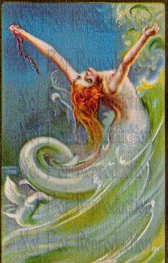 Art Beautiful Vintage Mermaid | s179 vintage Art Nouveau Deco reprint Vintage Mermaid Fabric Blocks 4 ...