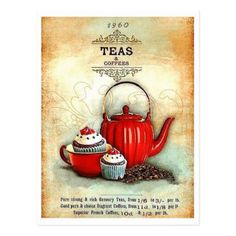 Get your hands on a customizable Tea postcard from Zazzle. Find a large selection of sizes and shapes for your postcard needs! Posters Vintage, Vintage Labels, Vintage Tea, Vintage Cards, Vintage Prints, Vintage Coffee, Vintage Country, Vintage Pictures, Vintage Images