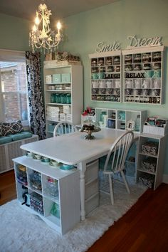 Love the turquoise and white coloring (would do mine pink/white). Also love the shelving on the wall, with the wooden signs.