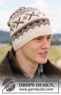 """Colerado by DROPS Design. Knitted DROPS hat with Norwegian pattern in """"Karisma. - Knitting patterns, knitting designs, knitting for beginners. Knitting Designs, Knitting Patterns Free, Free Knitting, Crochet Patterns, Free Pattern, Drops Design, Knit Hat For Men, Hat For Man, Beanies"""