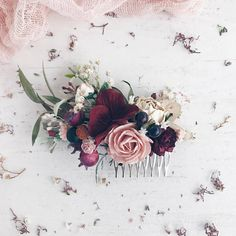 """Beautiful hair combs: small (4th photo)and medium size (3 photo) made with peonies, hydrangea, roses, buds, dried eucalyptus, babys breath, berries and dusty greenery. Measurements: Small comb 8cm/3"""" Medium comb 11 cm/4.5""""  -------------IMPORTANT TO READ------------- Waiting list is full"""