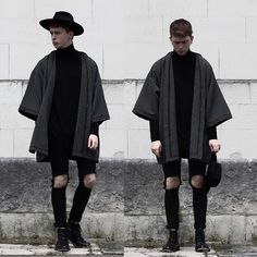 Modern take on the kimono Grunge Outfits, Mode Outfits, Grunge Clothes, Black Clothes, Fashion Mode, Grunge Fashion, Fashion Trends, Fashion Sites, Male Kimono