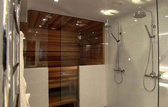 Sauna in your bathroom Finnish Sauna, Steam Sauna, Sauna Room, Outdoor Baths, Spa Rooms, Bathroom Closet, Steam Room, Laundry Room, Bathtub