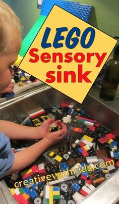 We are cray-cray crazy about Lego. When I saw this post about doing lego sensory play in the sink, I couldn't believe we hadn't tried this before! Autism Activities, Sensory Activities, Educational Activities, Toddler Activities, Counseling Activities, Sensory Tubs, Sensory Play, Legos, Lego Therapy