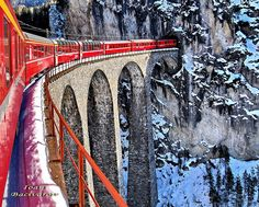 The Landwasser Viaduct is a single track six-arched curved limestone railway viaduct. It spans the Landwasser River between Schmitten and Filisur, in the Canton of Graubünden, Switzerland.